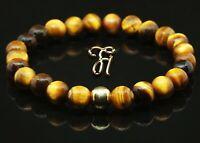 Tigerauge 925er sterling Silber vergoldet Armband Bracelet Perlenarmband braun