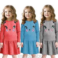 Toddler Girl Kids Autumn Clothes Long Sleeve Party Cat Print Tops Shirt Dress US