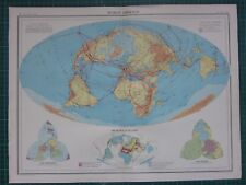 1952 LARGE MAP ~ WORLD AIRWAYS AIR ROUTES GROWTH OF DISCOVERY
