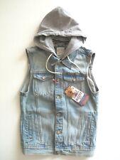 ALCOTT Men's Rugged Denim Removable Hood Jeans Vest Sleeveless Jacket Size S NEW
