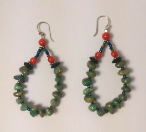 Sterling Silver Turquoise/Coral Earrings