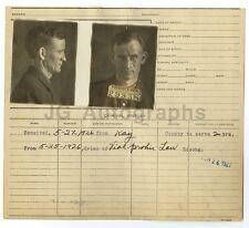 Police Booking Sheet - D.W. Thompson - Missouri Penitentiary, 1926