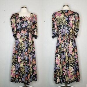 Rose Dirndel Vintage Floral Authentic German Octoberfest Oktoberfest Dress 40 Lg