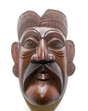 Sri Lankan Traditional Kolam Mask Tiki Wood Carving Wall Art Detail Figurine 9""