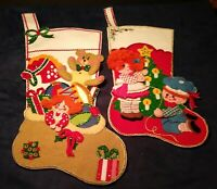 Vintage Bucilla Handmade Christmas Felt Sequin Stockings Incredible Hand Made
