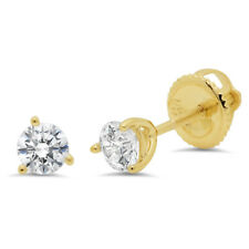 0.6ct Round Cut Stud Solitaire Earrings Martini Solid 14k Yellow Gold Screw Back