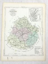 1881 Antique French Map Sarthe Le Mans France Rare Hand Coloured Engraving