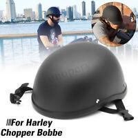 Matte Black Motorcycle Half Helmet Skull Cap Hat For Chopper Bobber