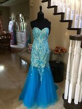$800 NWT TURQUOISE JOVANI PROM/PAGEANT/FORMAL DRESS/GOWN #79213 SIZE 12