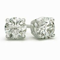 4CT Diamond Round Cut Screw-Back Basket Stud Earrings 14K White Gold Silver