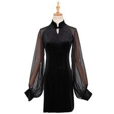 Mesh Latern Long Sleeve Cheongsam Slim Dress Chinese Style Lady Sexy China Style