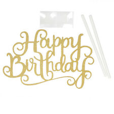 """Happy Birthday""Simple Gold Silver DIY Cake Topper Party Supplies Decorations FT"