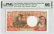 New Hebrides ND (1980) P-20c PMG Gem UNC 66 EPQ 1000 Francs