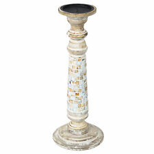 40cm Pearl Mosaic Tile Wooden Candle Stick Holder Vintage Carved Pillar Church