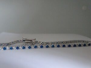 925 Sterling Silver Tennis Bracelet with Green or Blue & Clear CZ Round Stones