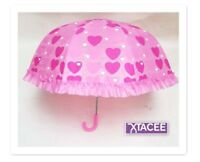"Umbrella Girls/Children's/Kids DOME SHAPE 26"" Hearts Love BABY PINK FRILLY NEW"