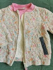 🐝🌼Next Bomber Jacket White Pastel Pink Floral Bee Spotty Ditsy 9-12m Baby Girl