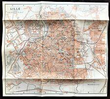 1910 ANTIQUE COLOR MAP - LILLE, BELGIUM - Great Detail - 100% AUTHENTIC