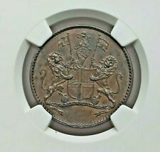 1821 BRITISH EAST INDIA COMPANY ST. HELENA COPPER 1/2 PENNY NGC AU-53 BROWN