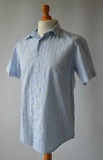 Men's Blue ,Grey & White Striped Short Sleeved Ben Sherman Shirt Size L, Large.