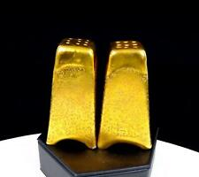 """STOUFFER STUDIOS GOLD ENCRUSTED ARCH FOOTED 3"""" SALT AND PEPPER SHAKERS"""