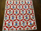 """Raggedy Ann and Andy doll child quilt 42"""" x 44"""" Red White With Lace Trim"""