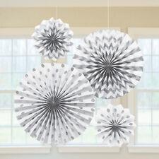 4 x Blanc & ARGENT papier ventilateurs pendant Décoration de fête pailleté finir