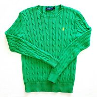 POLO Ralph Lauren Women's Emerald Green Cable Knit Sweater 100% Cotton X Small