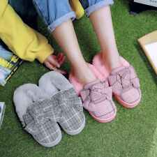 Ladies Winter Bowknot Check Fur Lining Slippers Girls Comfort Warm House Shoes