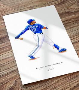 Vladimir Guerrero Jr Toronto Blue Jays Baseball Illustrated Print Poster Art