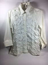 Women's Anne Fontaine White Blouse Size 2 3/4 Sleeve