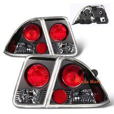 Tail Lights FOR 2001-2005 Honda Civic 4-Door Sedan Rear Brake BLACK Taillights