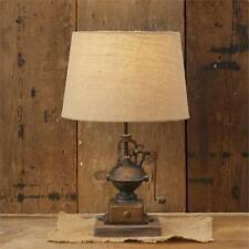 New Primitive ANTIQUE COFFEE GRINDER LAMP Burlap Shade Electric Table Light