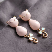 Betsey Johnson Cute Pink Cat Stud Earrings Women Drop Dangle Earring Jewelry