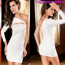 ROBE de SOIREE mini COCKTAIL GOGO CLUBWEAR TUNIQUE FEMME SEXY blanc cassé 36-38