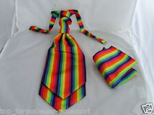 <Multi>Mens Rainbow Ruche Wedding Tie-Cravat and Hankie Set-P&P 2UK >>>1st Class
