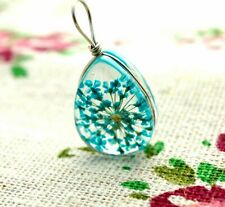 Dried flower resin teardrop blue pendant silver jewellery supplies C1330