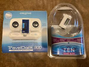 New Creative Zen Nano Plus MP3 Player White & Travel Dock 9000 Portable Speaker