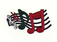 aa12 Notenschlüssel Aufnäher Bügelbild Musik Noten Linien Grün Rot 7,4 x 5,0 cm