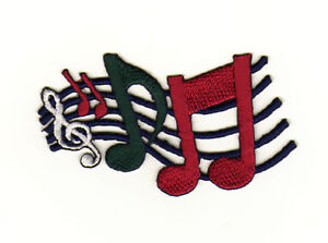 Aa12 Clef Sew-On Iron-On Music Notes Lines Green Red 2 7/8x2in