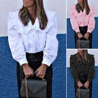 Plus Size Women Collar Lolita Shirt Long Sleeve Tops Ladies Gothic Office Blouse