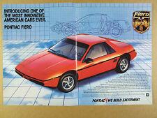 1984 Pontiac Fiero 'Introducing' red car color photo vintage print Ad
