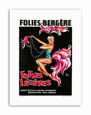 THEATRE CABARET FOLIES BERGERE FOLLIES LIGHT SHOWGIRL Poster Canvas art Prints