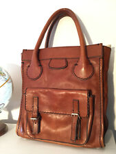 Chloe Edith Tote Satchel Leather Authentic Brown Rare Purse Bag 21 inch