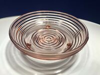 VTG Anchor Hocking Art Deco Depression Glass Manhattan Pink 3 Toed Candy Dish