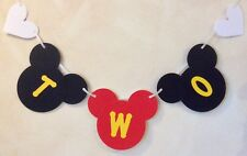 GIRLS 2nd BIRTHDAY MICKEY MOUSE STYLE PARTY BANNER BLACK AND RED