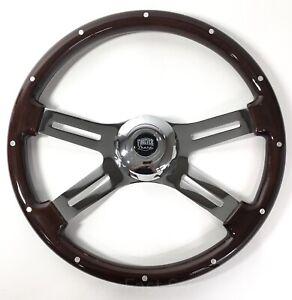 """Dual Spoke 18"""" Wood Steering Wheel w/ Rivets Kenworth Peterbilt Freightliner"""