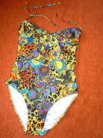attraktiver Badeanzug Gr.40/42.PAGURO Italy bunte Farben All-Over-Musterung chic