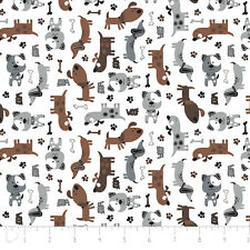 Fabric 100% Brushed Cotton/Flannel Camelot Dogs 21179910B-1 half metre