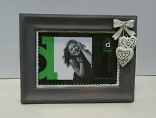 Resin bow and heart grey white photo picture frame 4x6 RRP $29.95